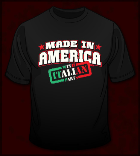 MADE IN AMERICA WITH ITALIAN PARTS T-SHIRT -FUNNY ITALIAN T-SHIRTS ...